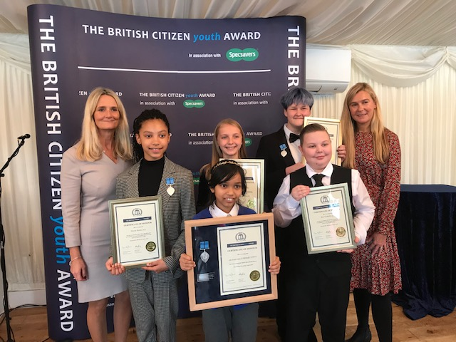 British Citizen Youth Awards 2019 pupils with Nicky Cox OBE First News and Liz Moorse ACT CEO